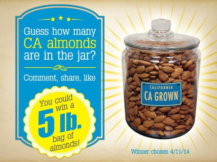Win 5 lb.s of CA Grown Almonds