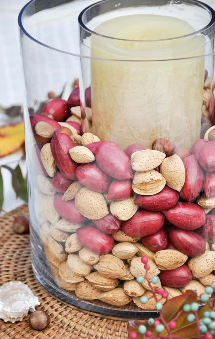 Using whole nuts in your Thanksgiving decor lends an organic feel to your Thanksgiving Table