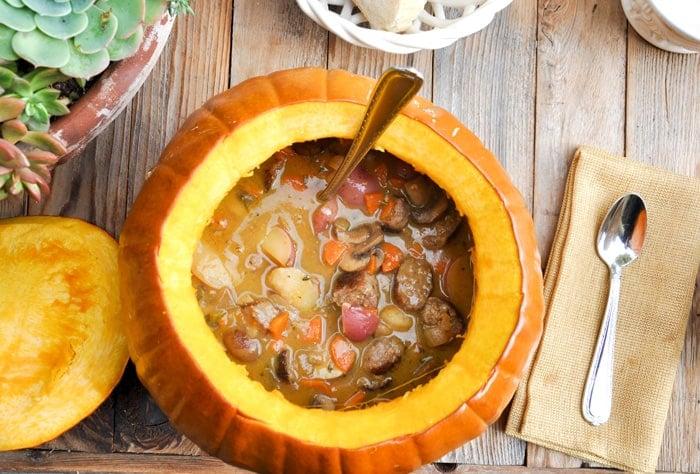 Stew served in a Pumpkin Tureen. Magnificent! You bake the pumpkin ...