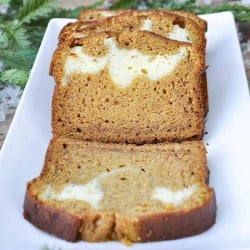Pumpkin bread with cream cheese filling using homemade pumpkin puree.