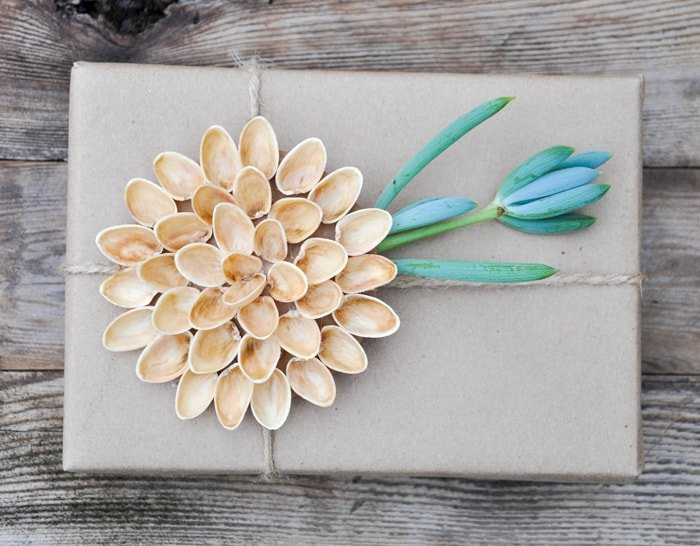 A natural alternative to plastic bows.  Pistachio Shell bows make quite the statement!