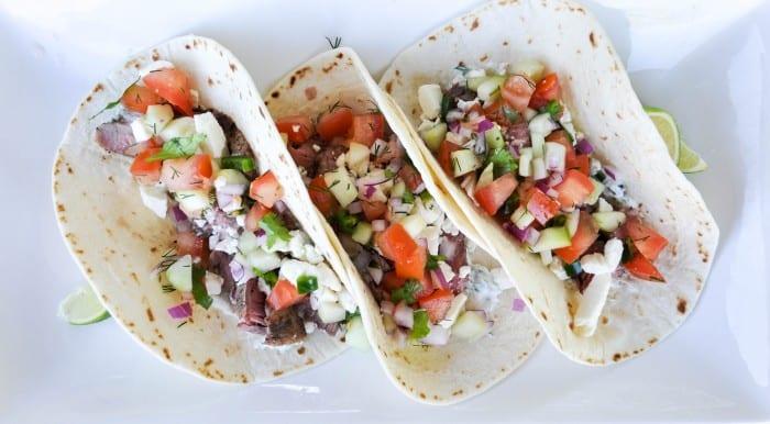 Lamb Asada Tacos with Cucumber Salsa