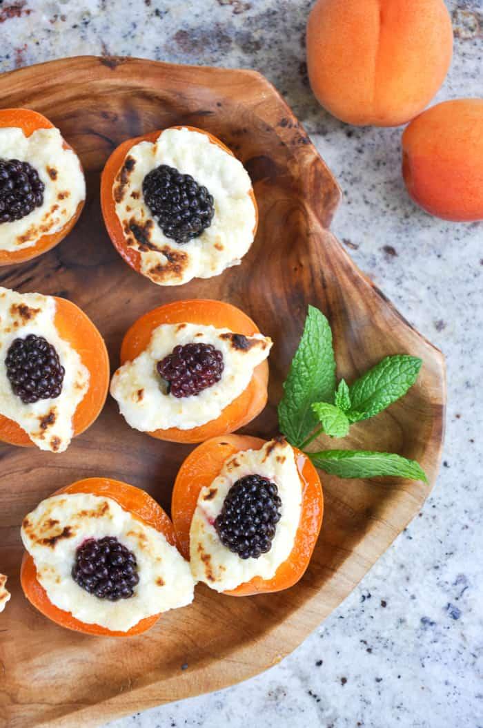 Apricot blackberry jewels on tray