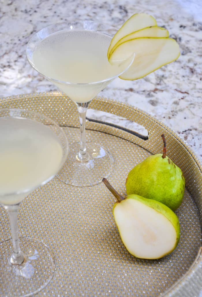 Bartlett Pear Martini.  Use pear vodka and a good riesling with pear puree. YUM!