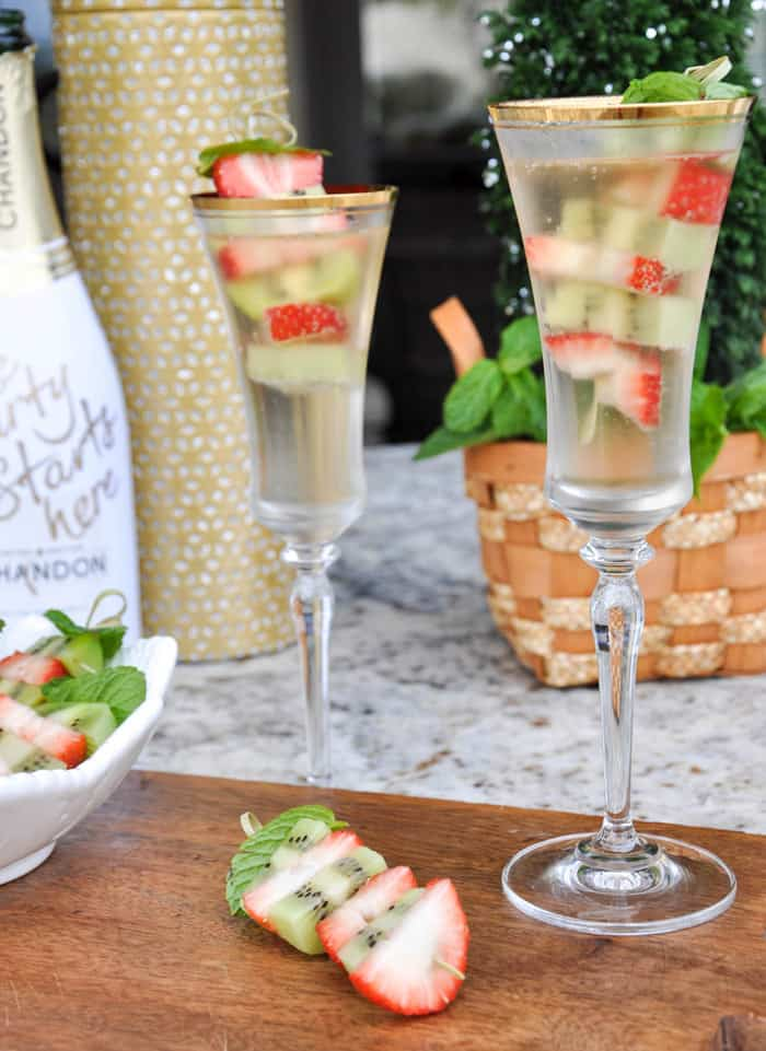 Sparkling Wine and Fruit Kabobs
