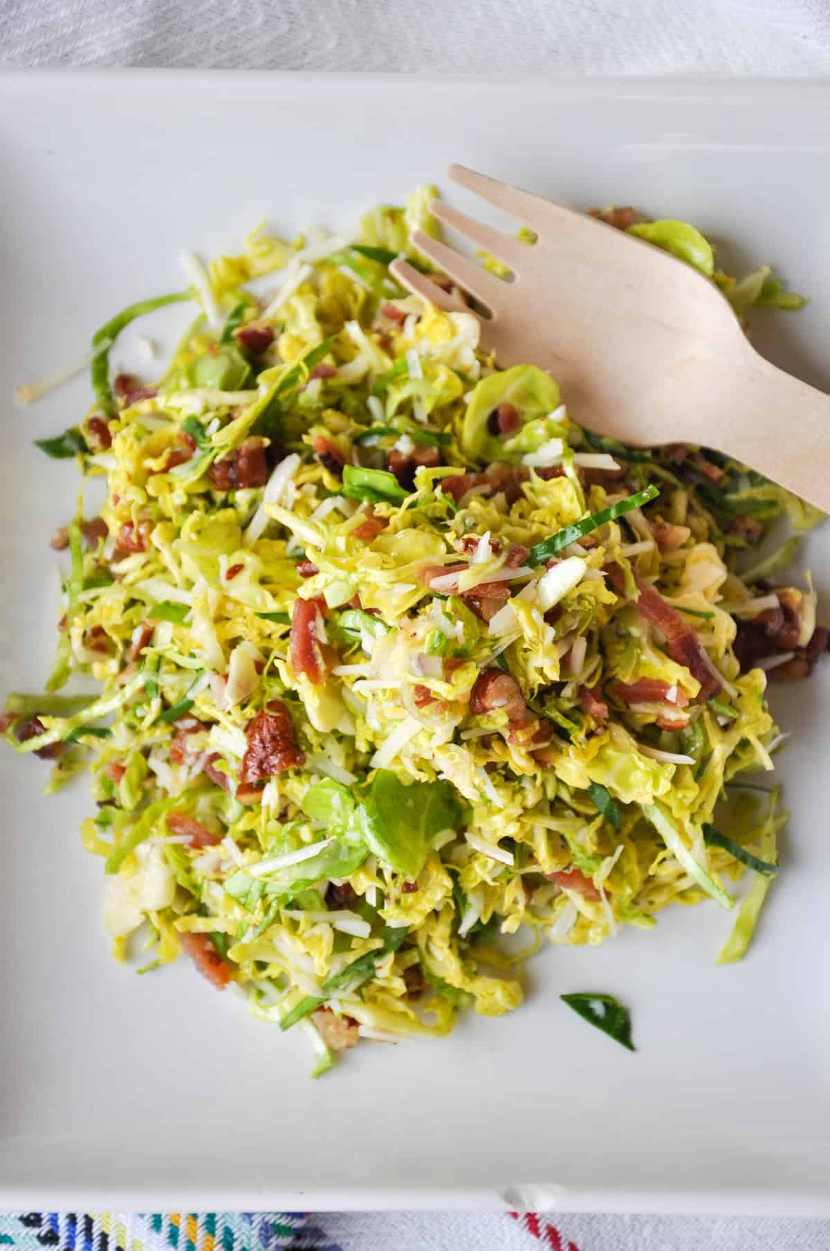 Bacon Pecan Brussel Sprout Salad with Maple Orange Dressing
