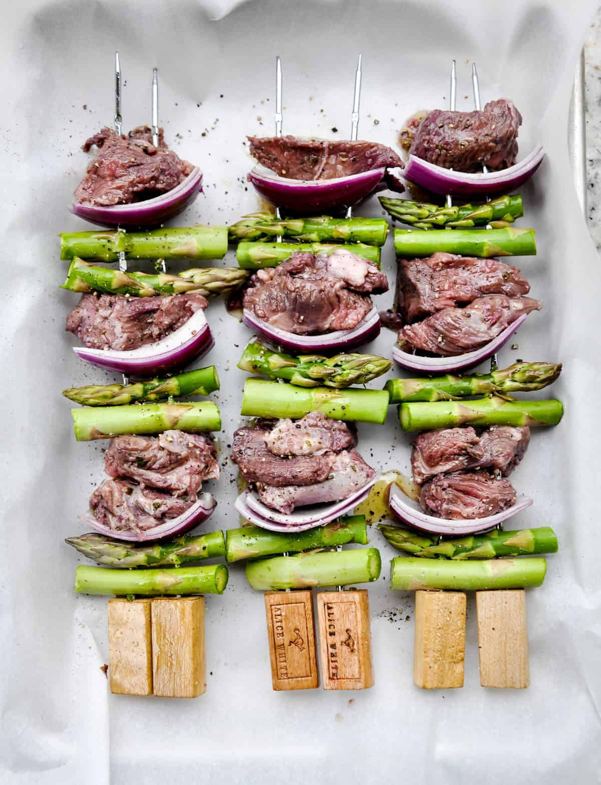 Lamb, Asparagus and Onion on skewers