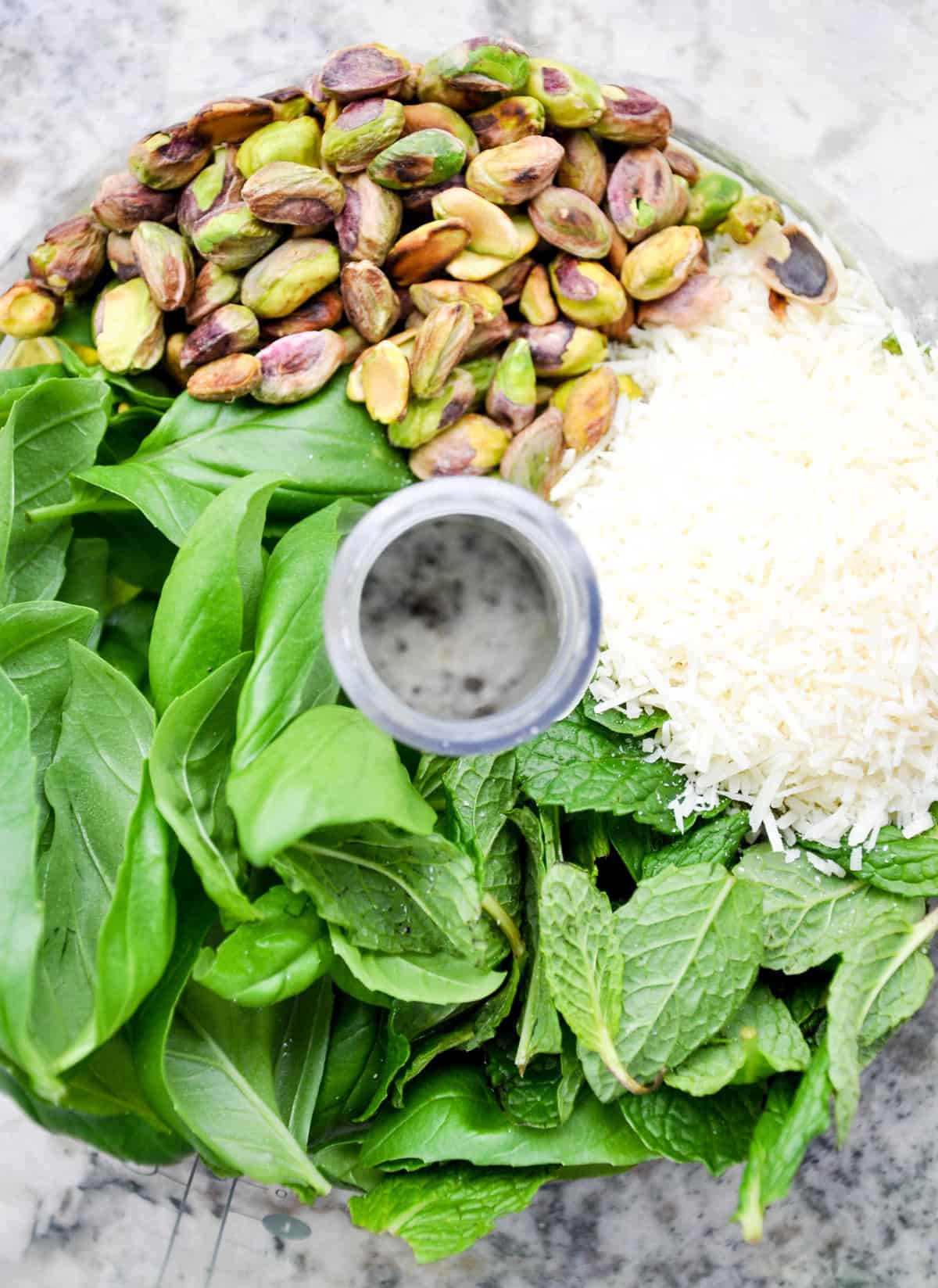 Pistachio, Mint, cheese, and basil in food processor