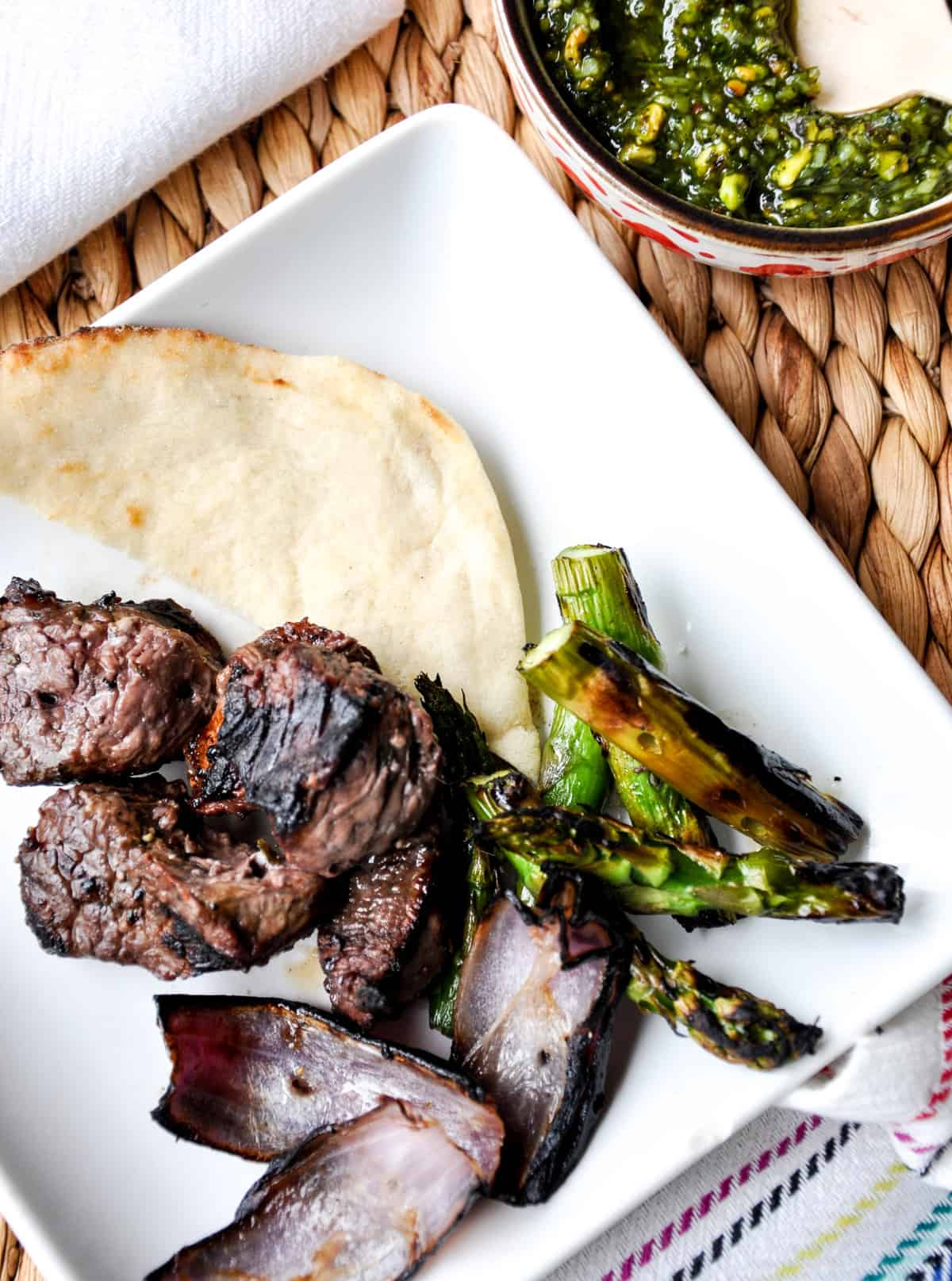 Lamb Asparagus Kebabs with Pistachio Mint Pesto and bread