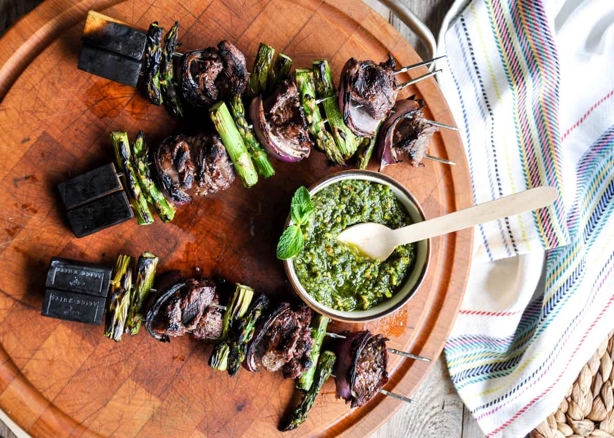 Lamb Asparagus Kebabs with Pistachio Mint Pesto