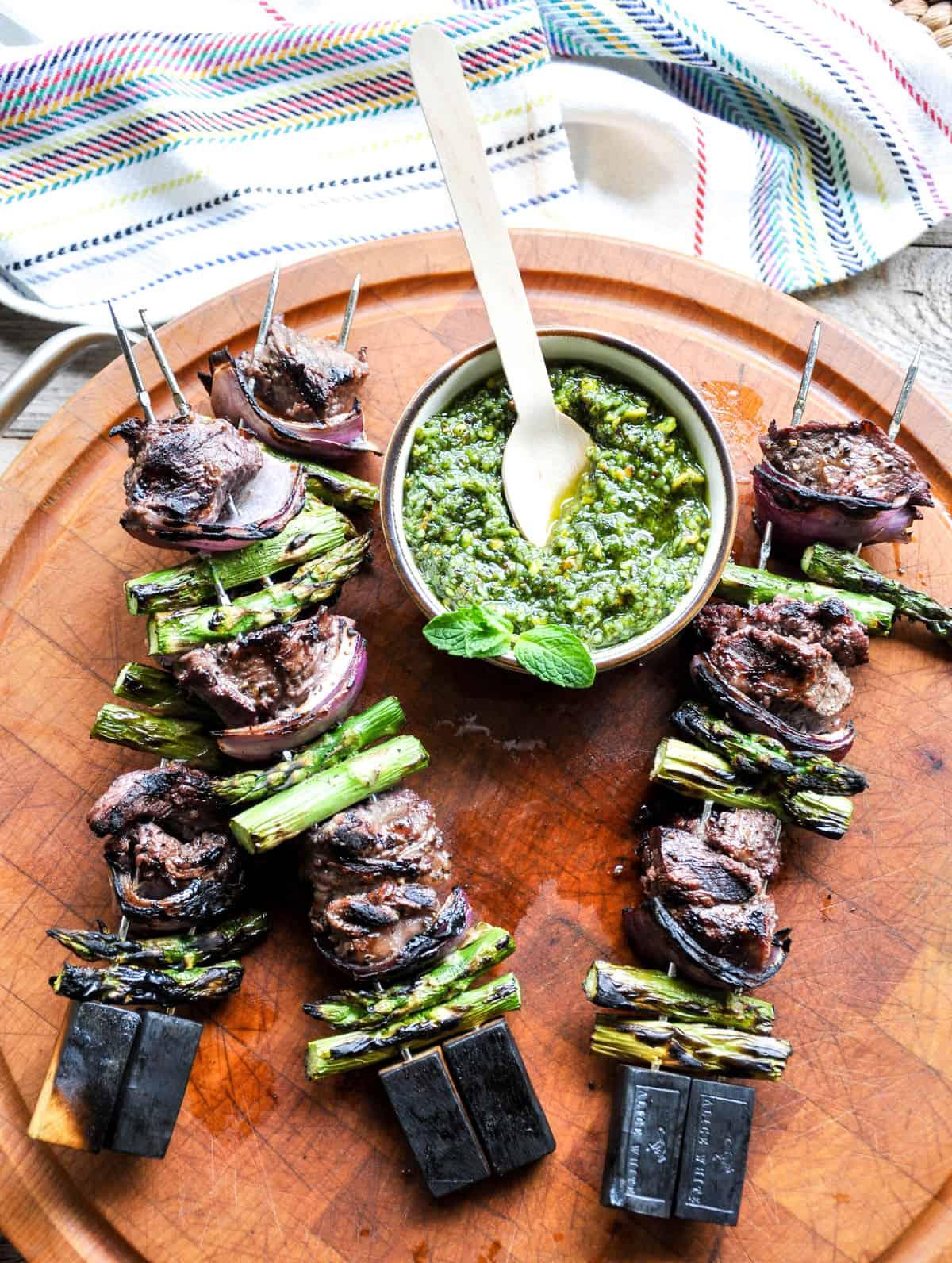 Lamb Asparagus Kebabs with Pistachio Mint Pesto