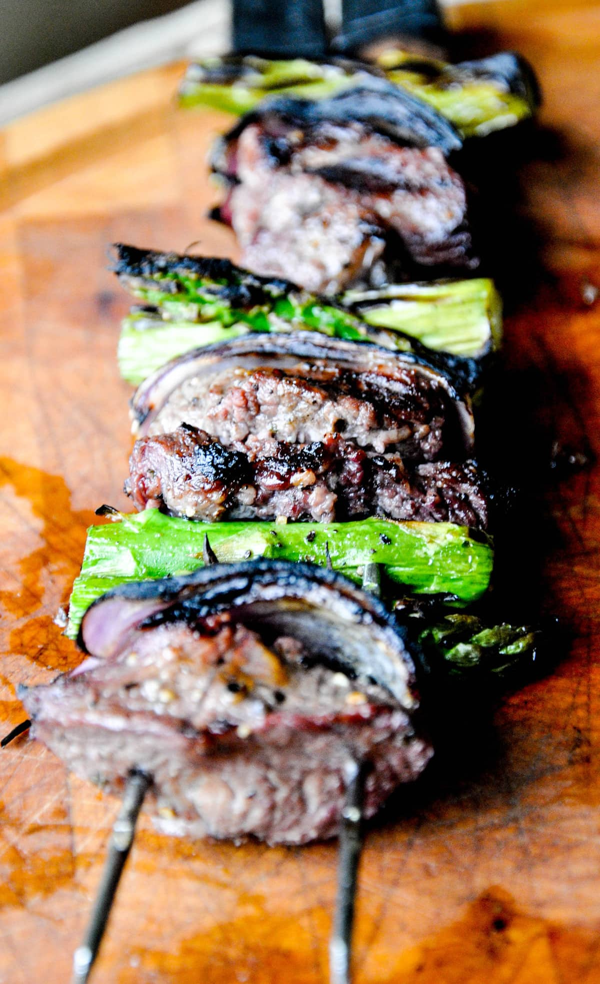 Lamb Asparagus Kebabs with Pistachio Mint Pesto on Skewer