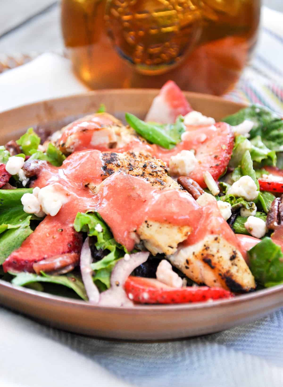 Strawberry Salad topped with a strawberry vinaigrette