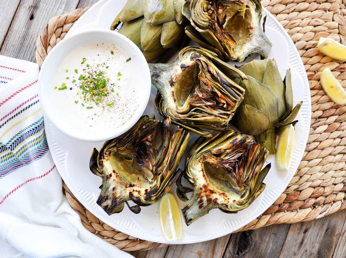 Grilled Artichoke with Zesty Garlic Aioli