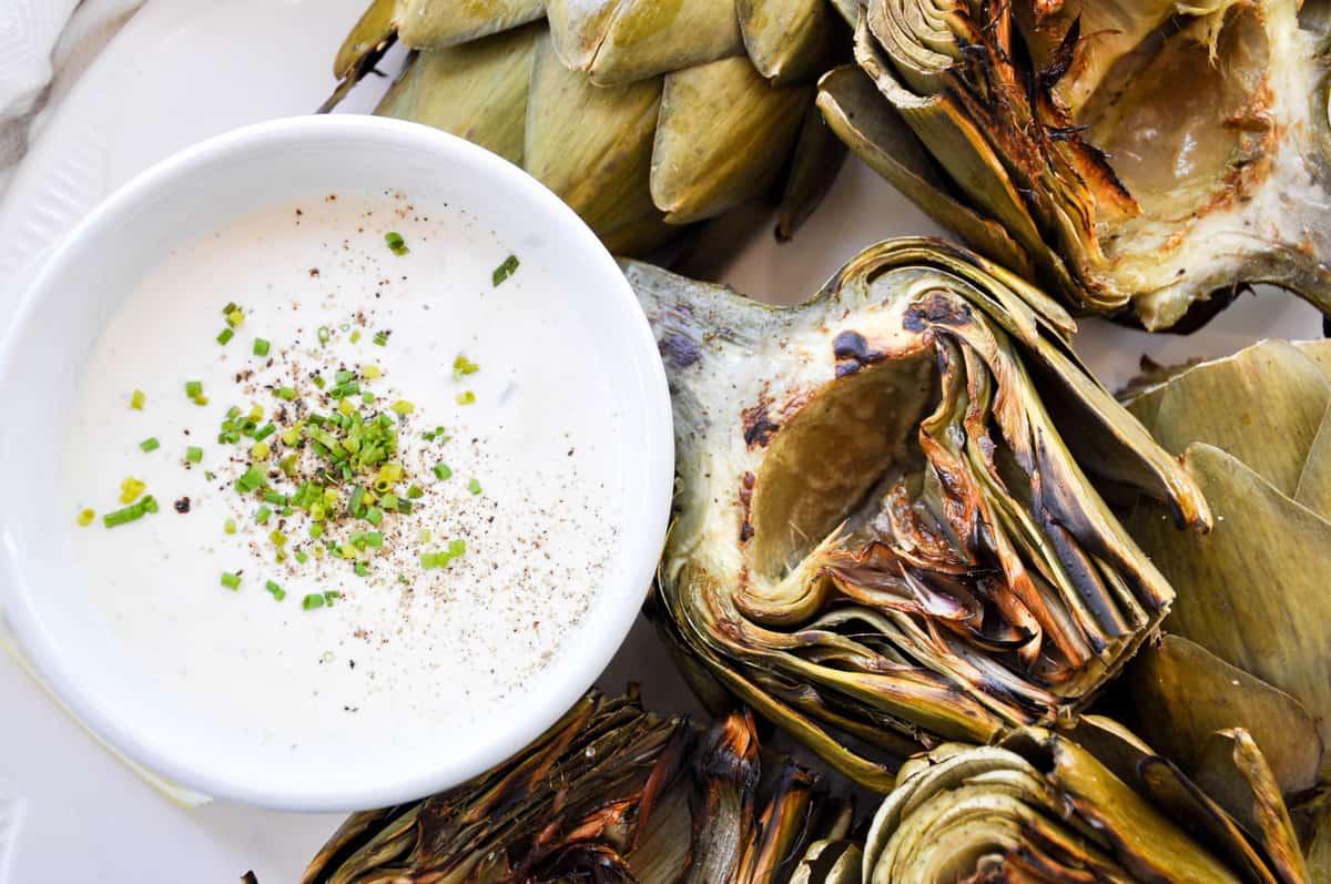 Grilled Artichokes with Zesty Garlic Aioli