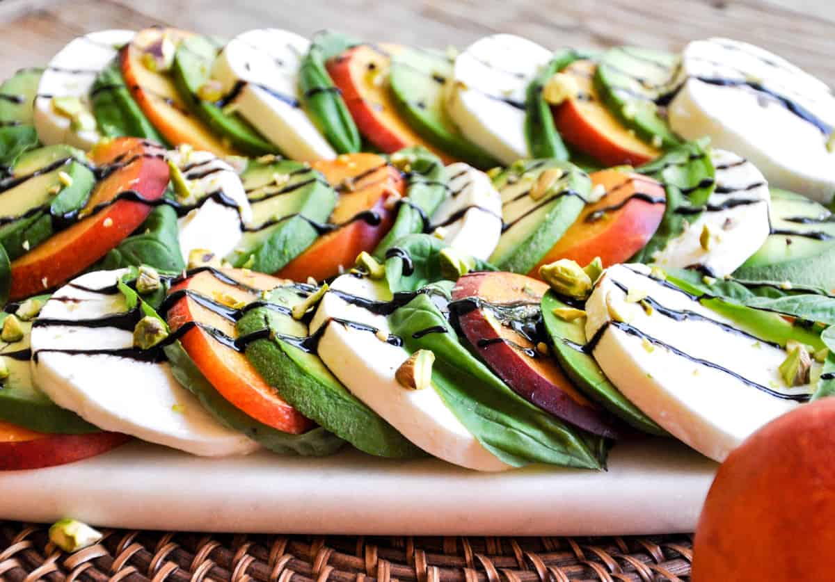 Summerfy your Caprese salad using nectarines and avocado. Delish!