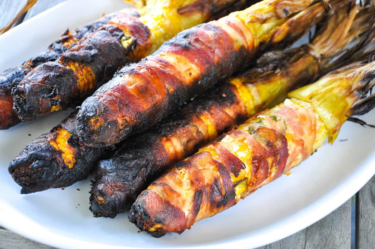 Jalapeno Popper Corn on the Cob. The best part? It's wrapped in Bacon! Can't get any better