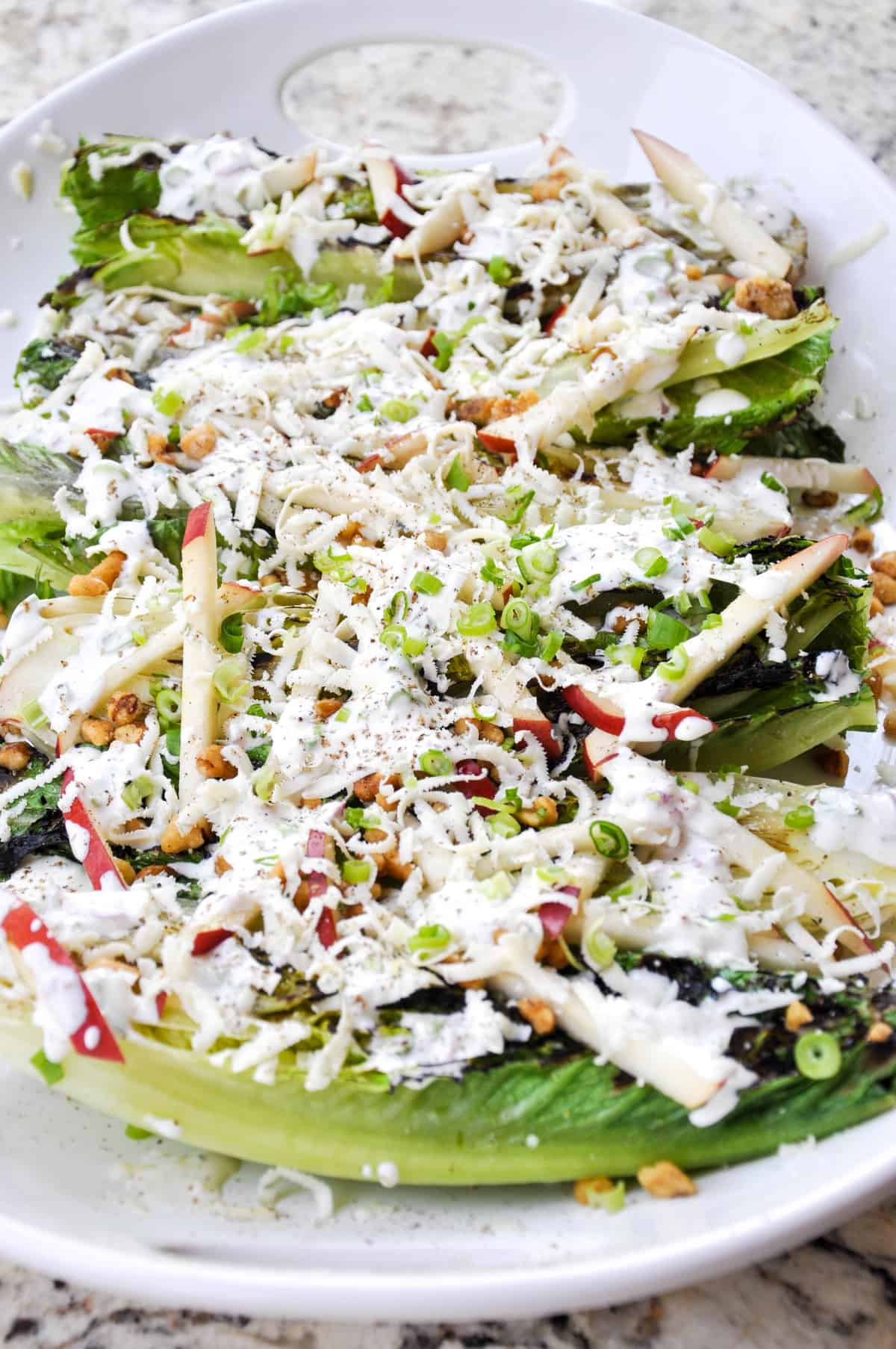 Grilled Romaine Salad with Crimson Pears and Candied Walnuts