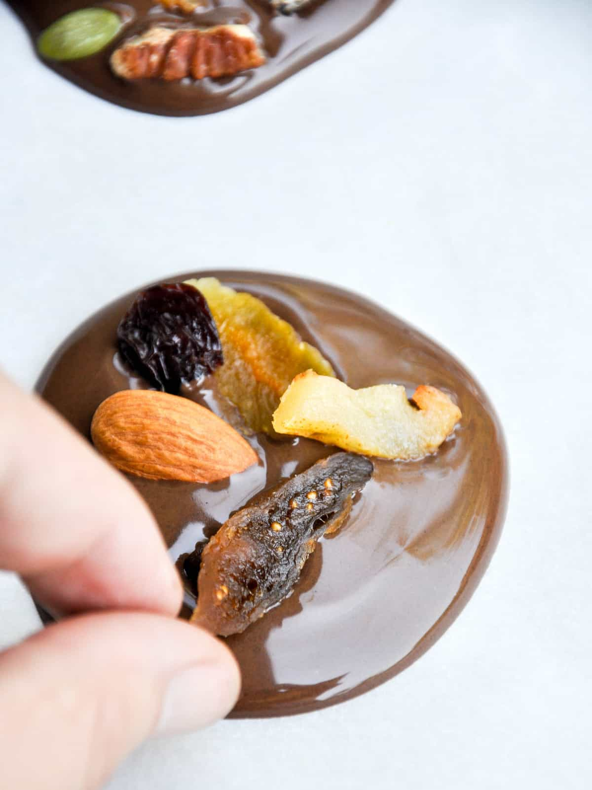 Adding dried fruit and nuts to chocolate rounds