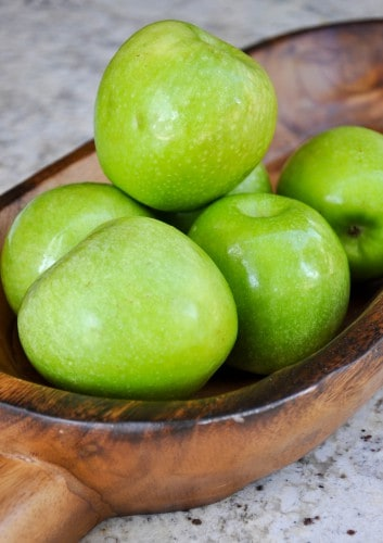 A bowl of Granny Smith apples.