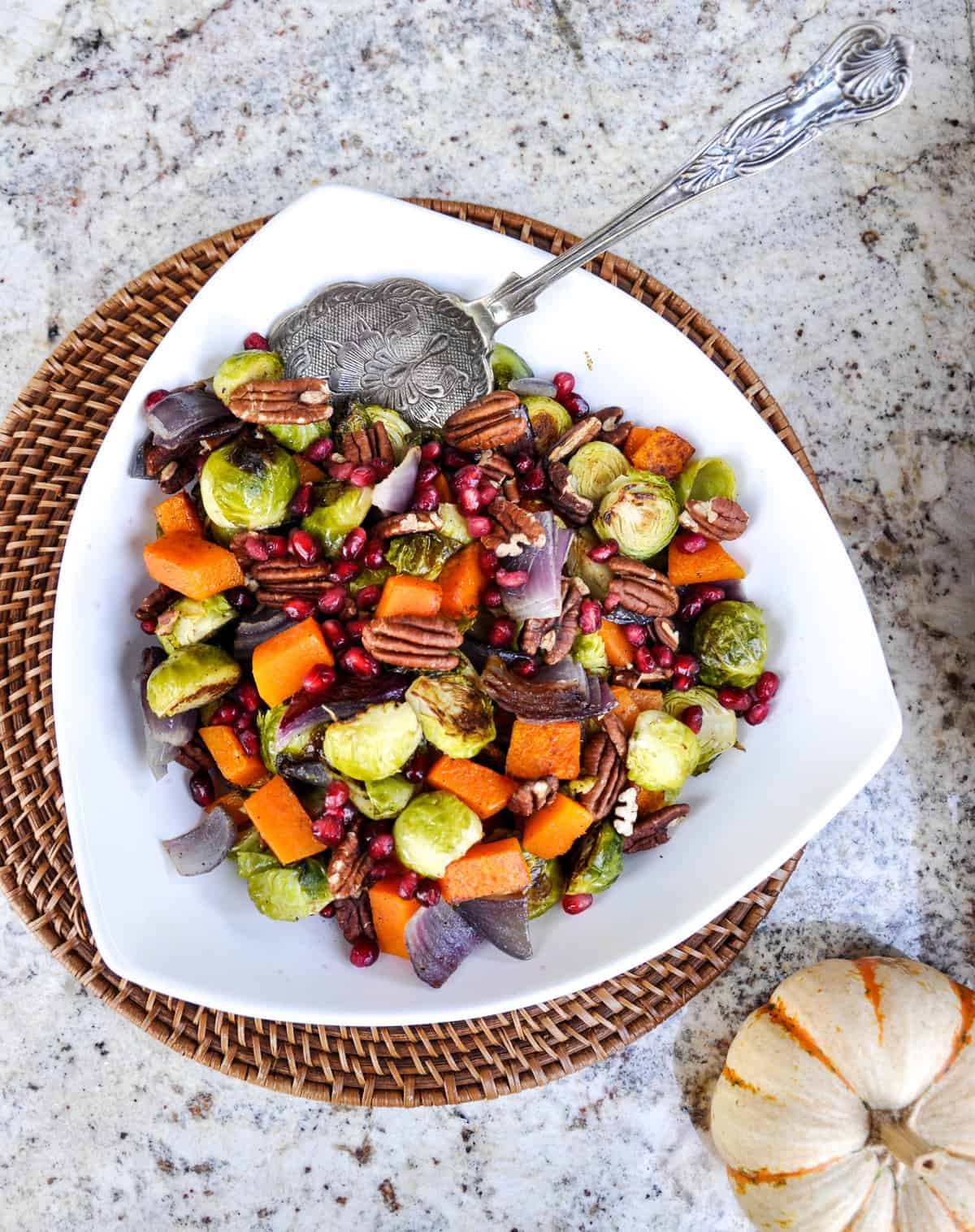 Roasted Brussels Sprouts & Butternut Squash Medley with Pecans and Pomegranate