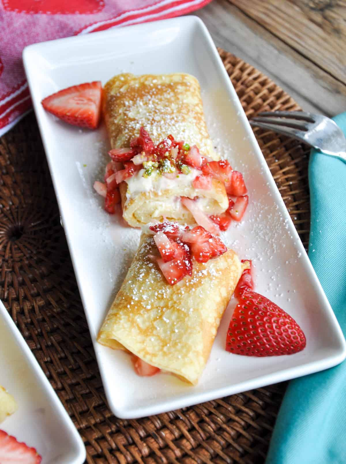Lemon Creme Crepes with Strawberries and Pistachios
