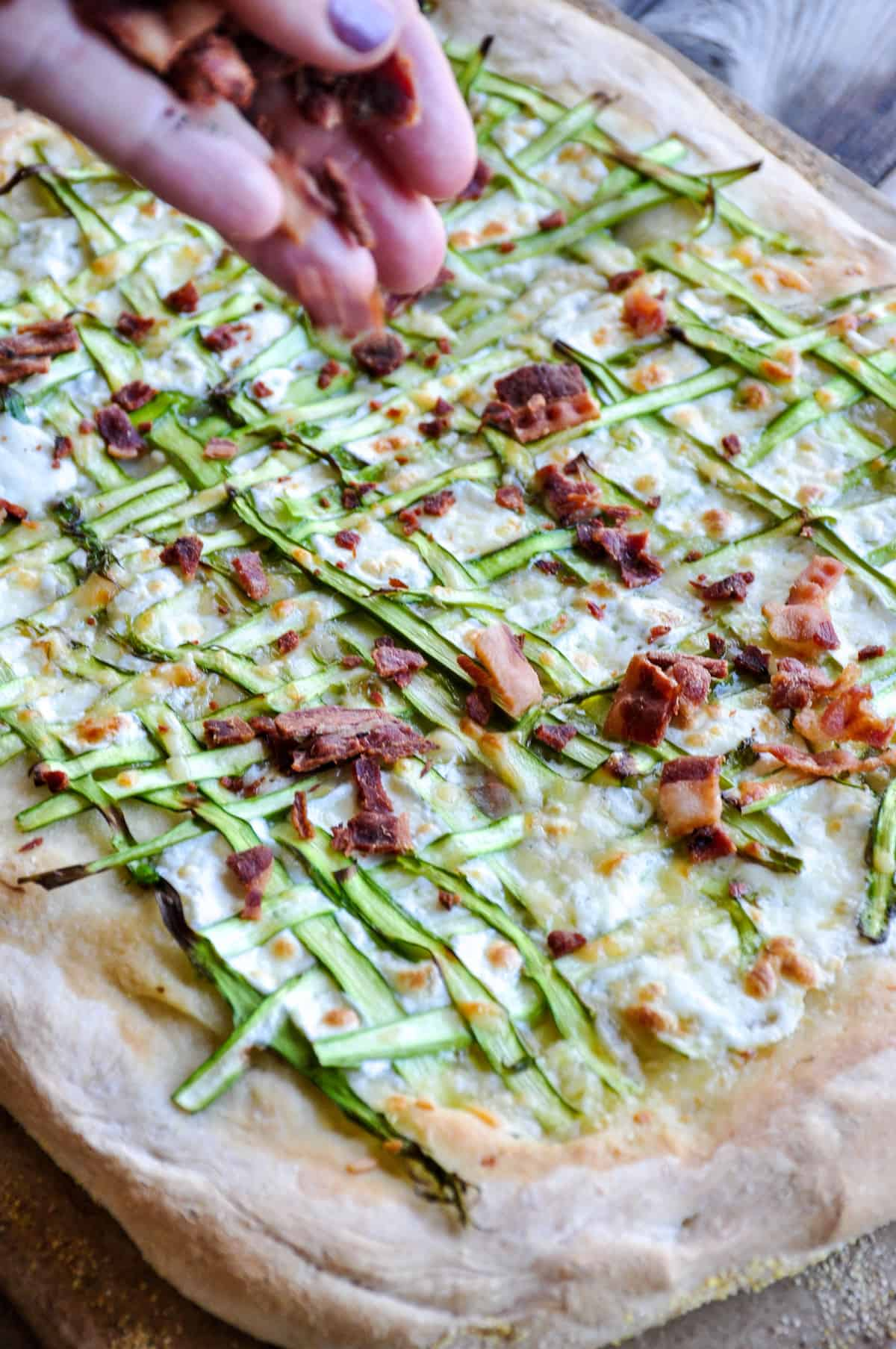 Bacon added to Asparagus Pizza Ribbon