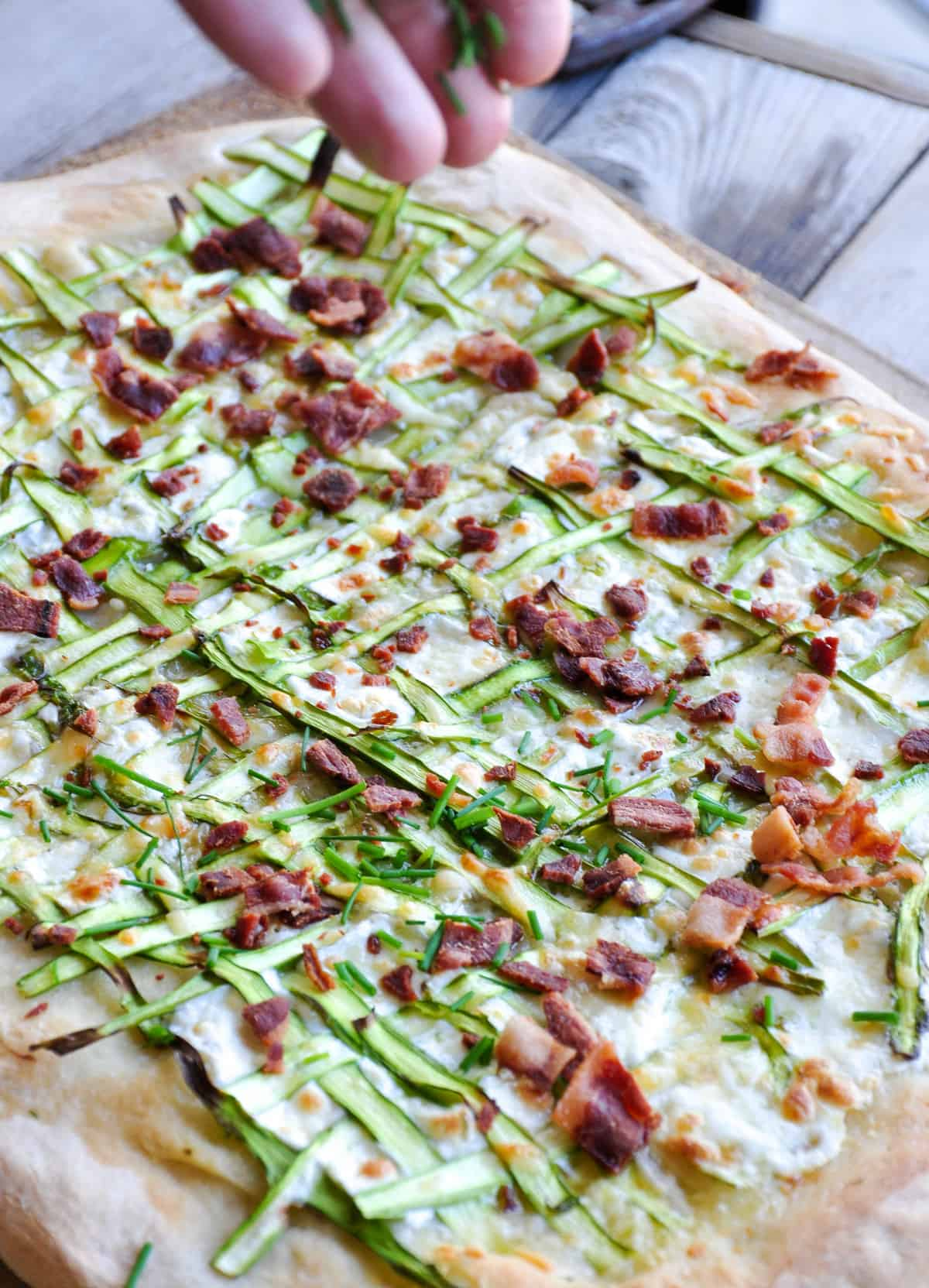 Chives added to Asparagus Pizza Ribbon
