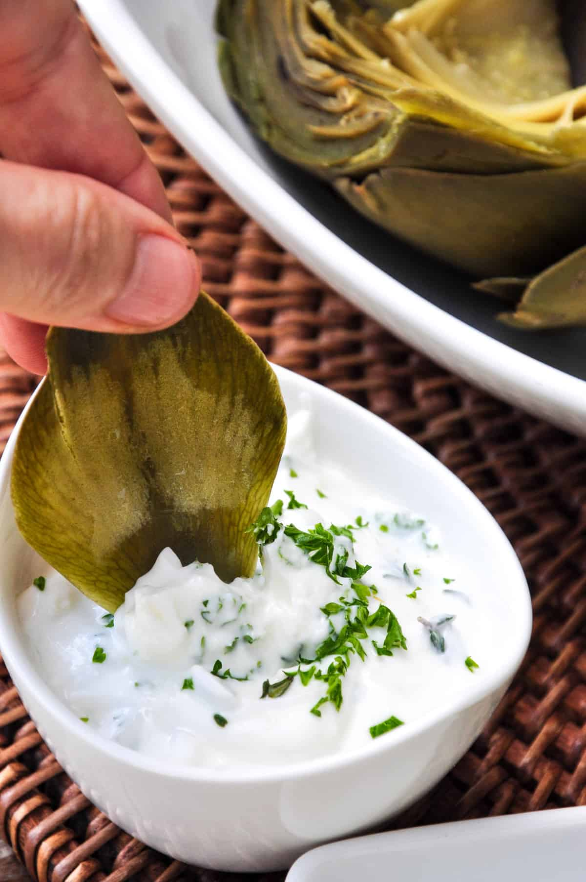 Greek yogurt based dip with fresh herbs and garlic