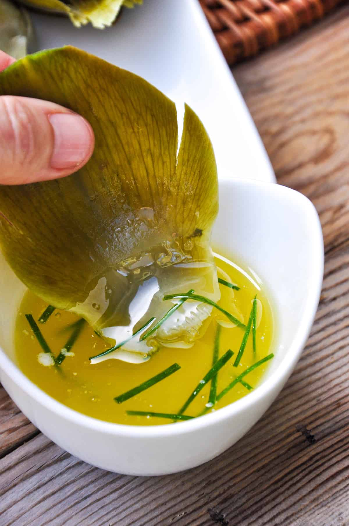 Clarified butter and fresh chive dip