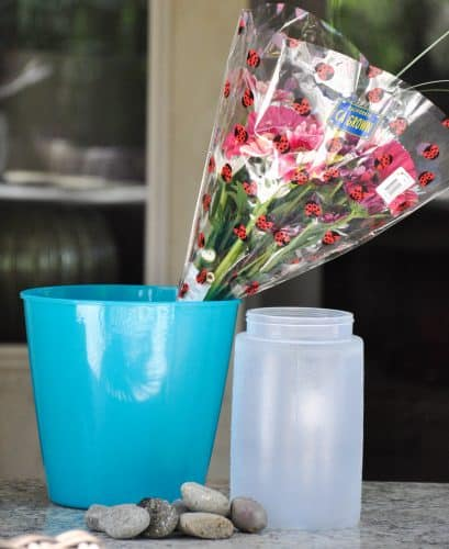 Supplies for making a floral ice bucket