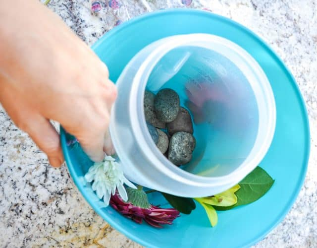 Creating the floral layer for the ice bucket.