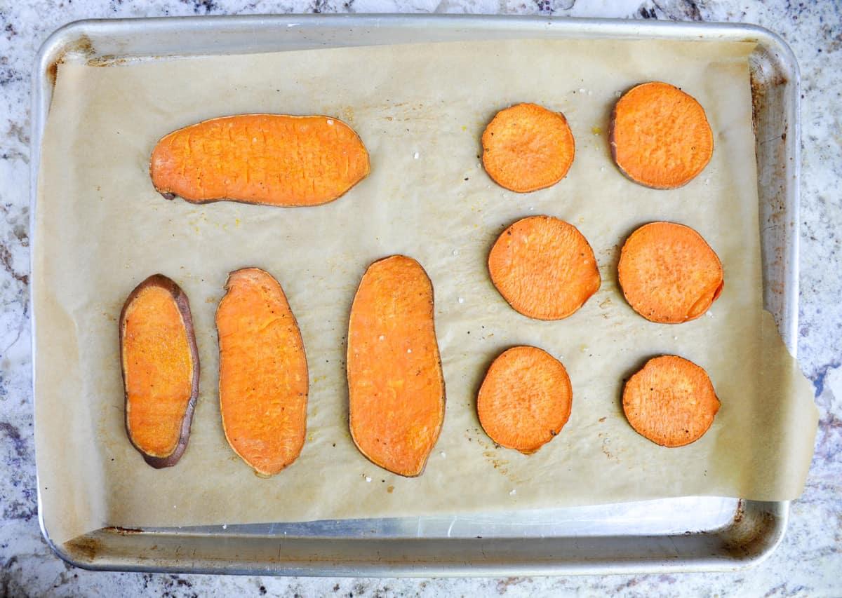 Bake sliced sweetpotatoes