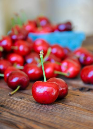 Fresh cherries on a table.