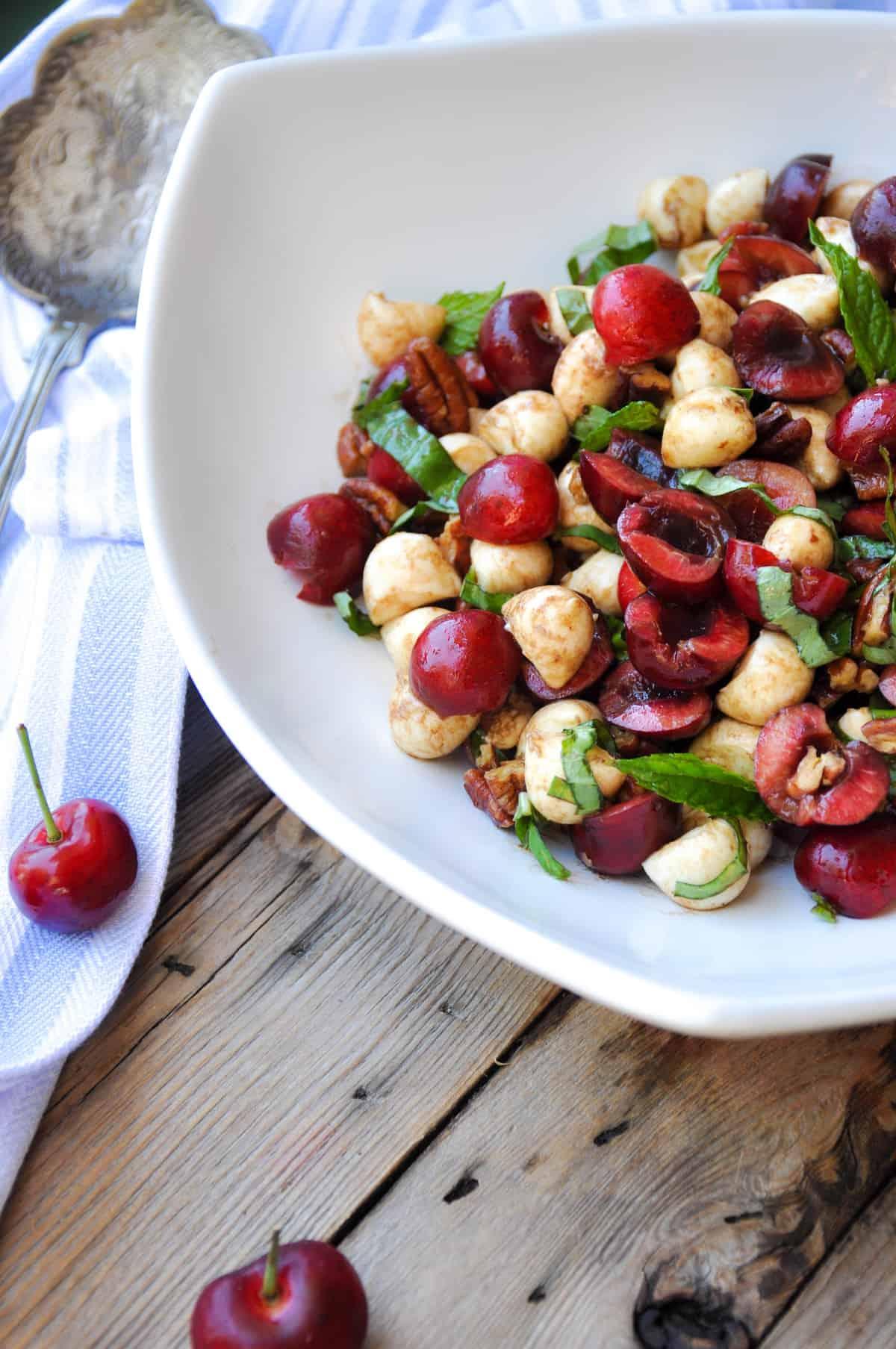 Sweet cherry caprese salad