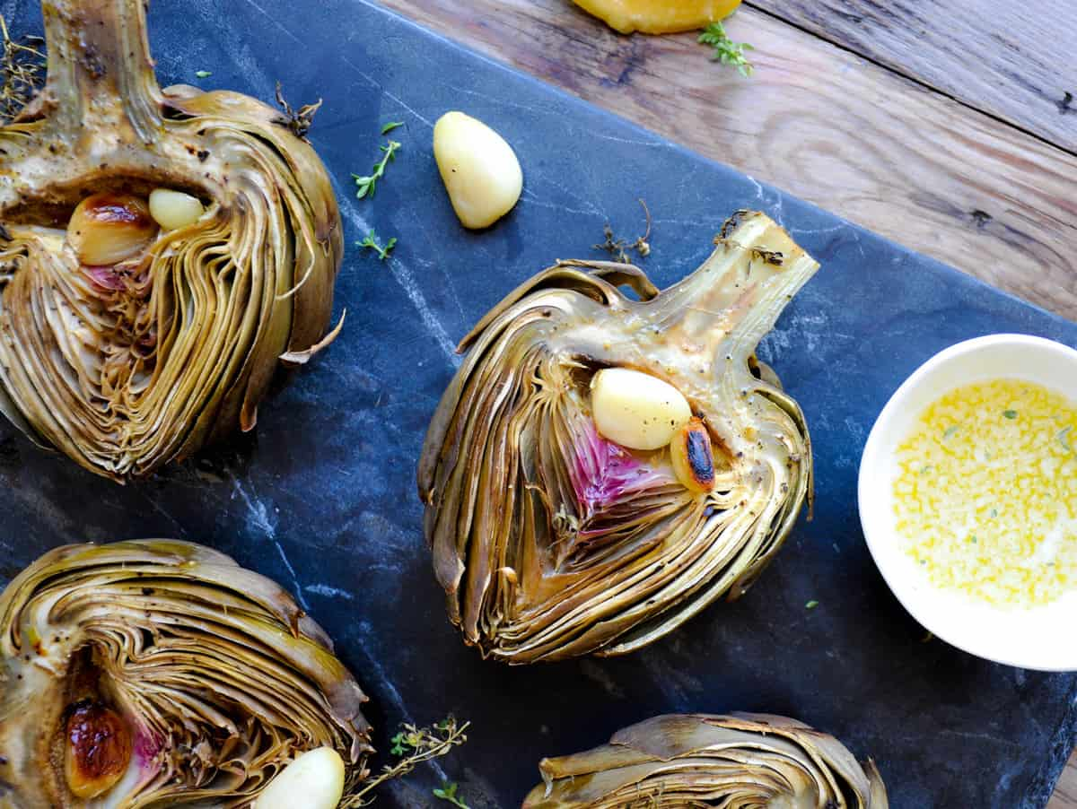 Herbaceous Roasted Artichoke with Garlic and Lemons