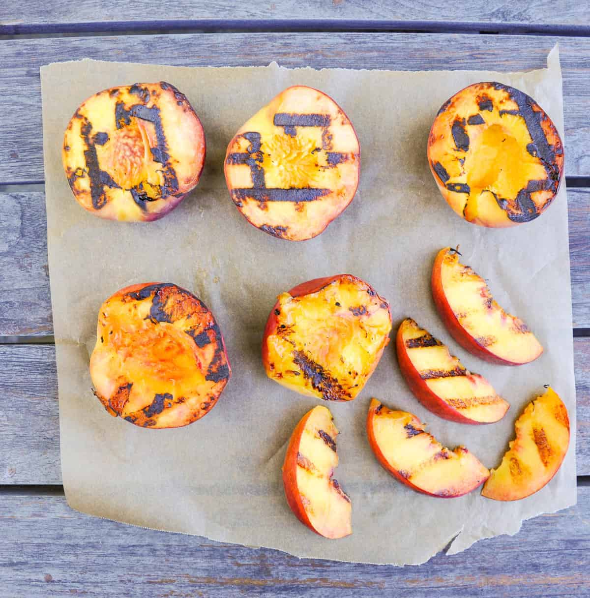 Halved peaches, grilled