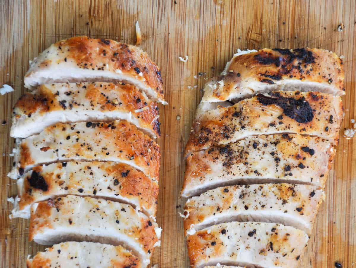 Grilled and sliced chicken breast