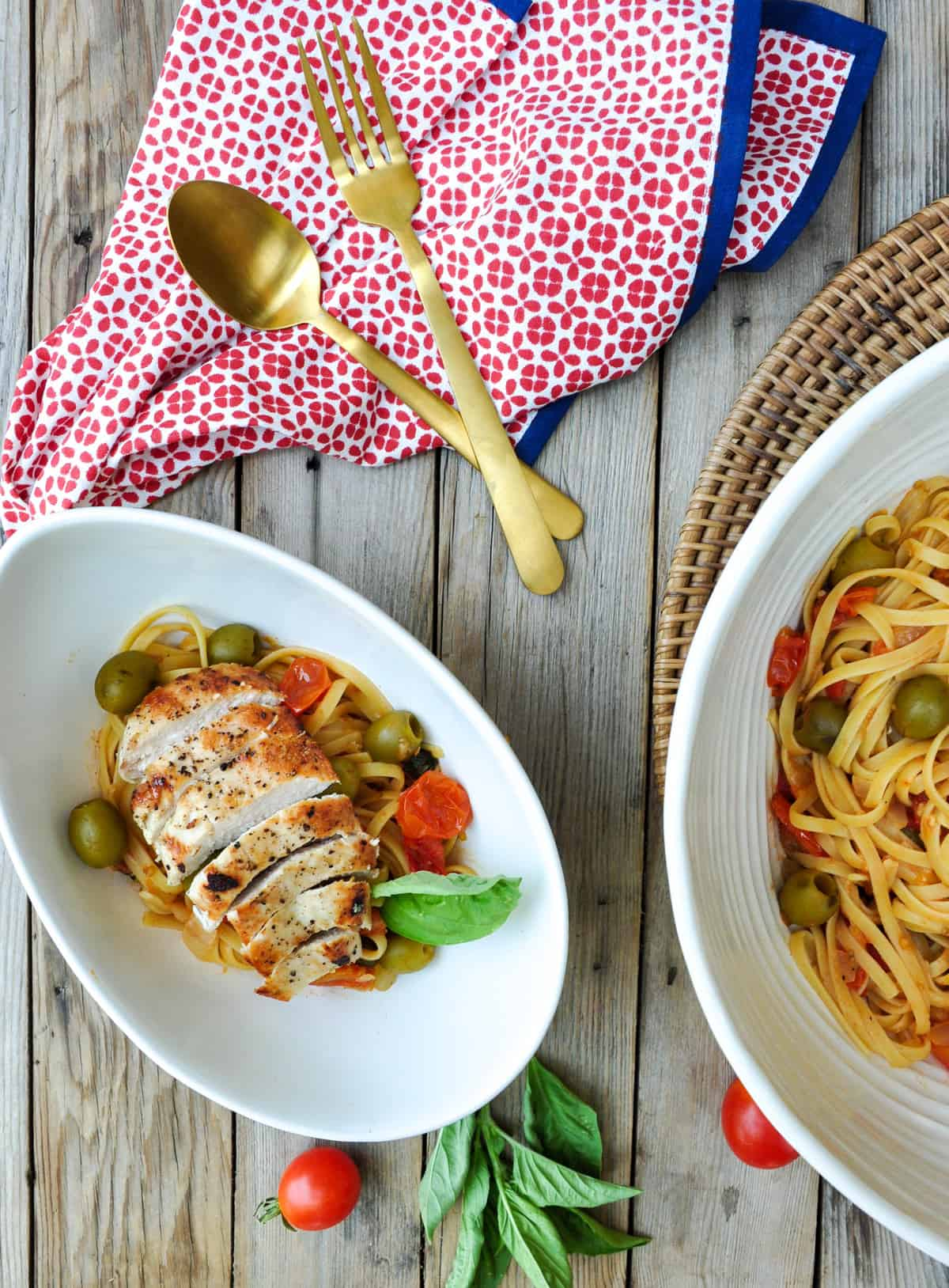 Pasta Puttanesca with Green Olives & Chicken