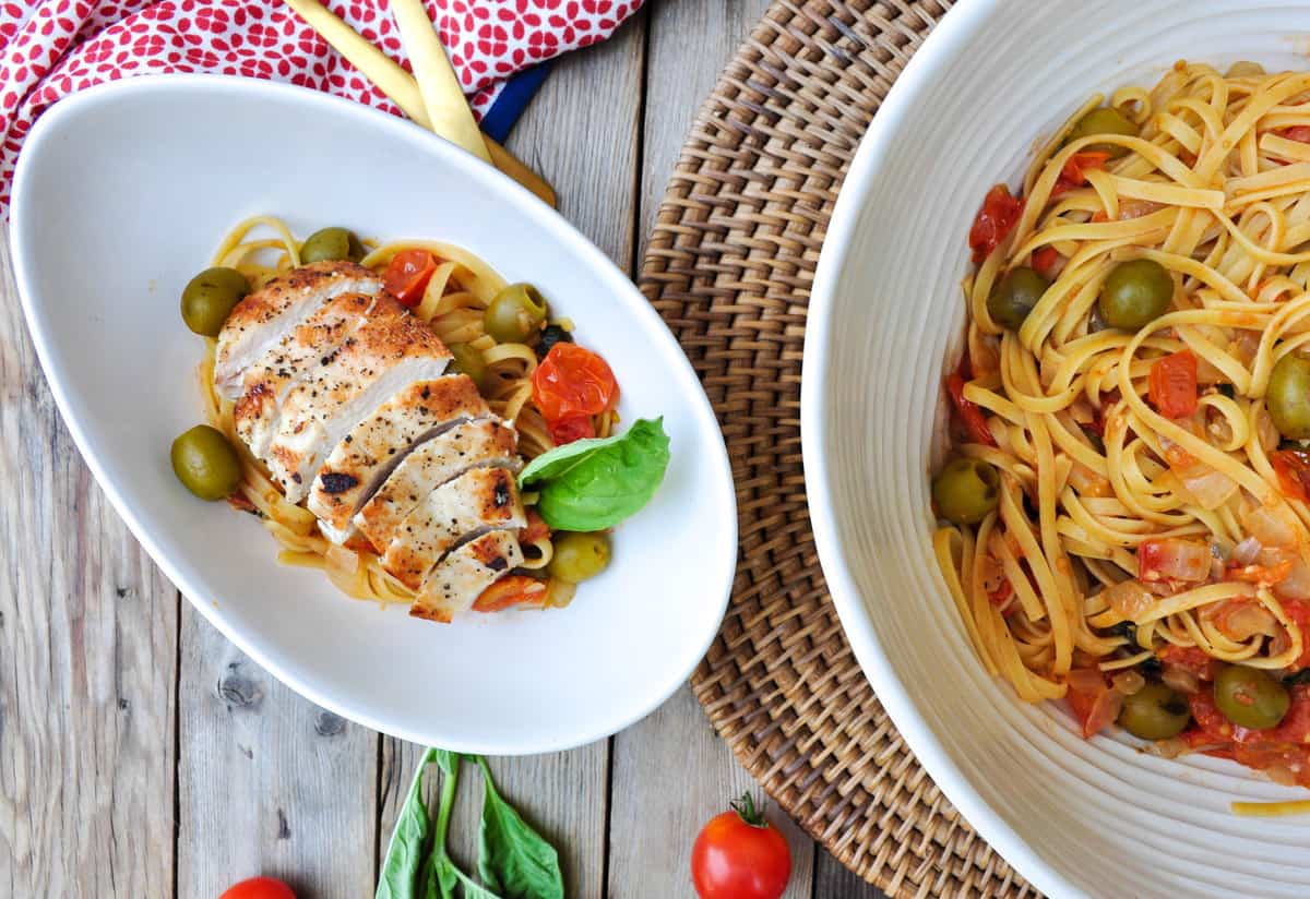 Pasta Puttanesca with Green Olives and Chicken