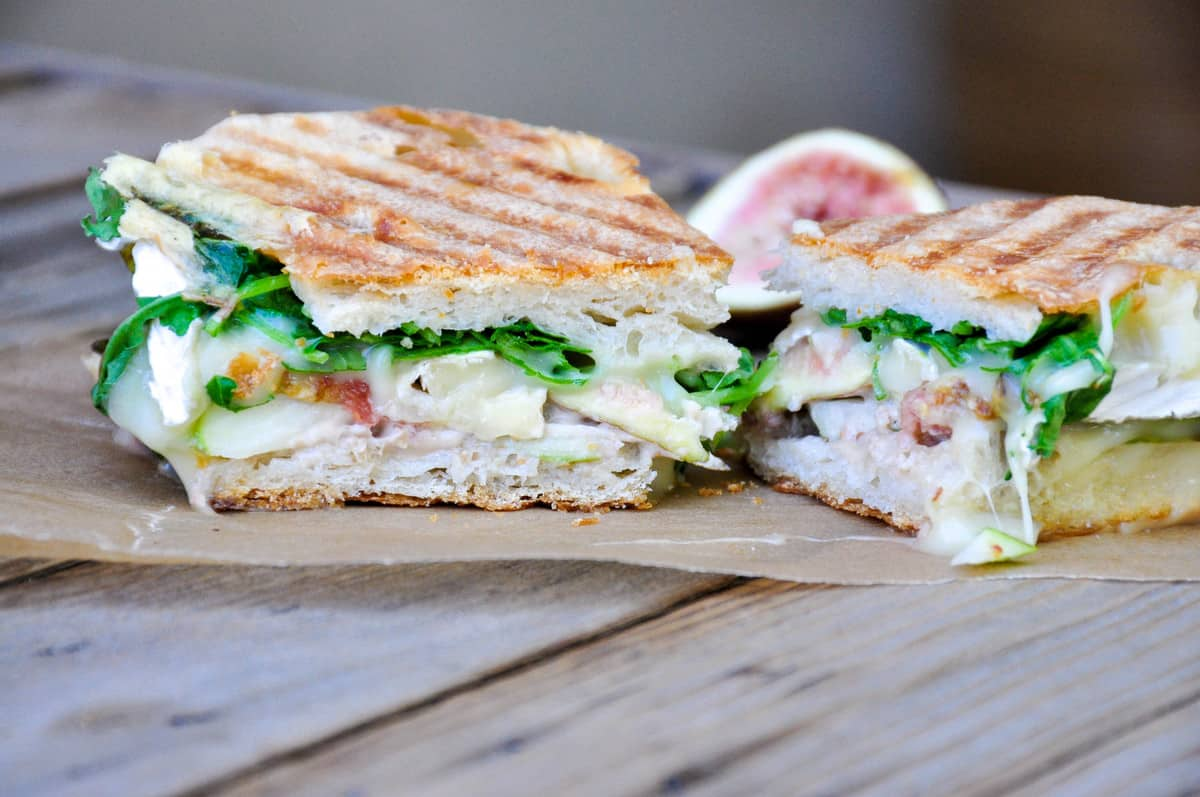 Pear and Fig Panini with Brie and Arugula