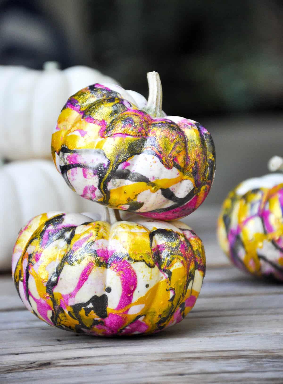 DIY Marbleized Pumpkins