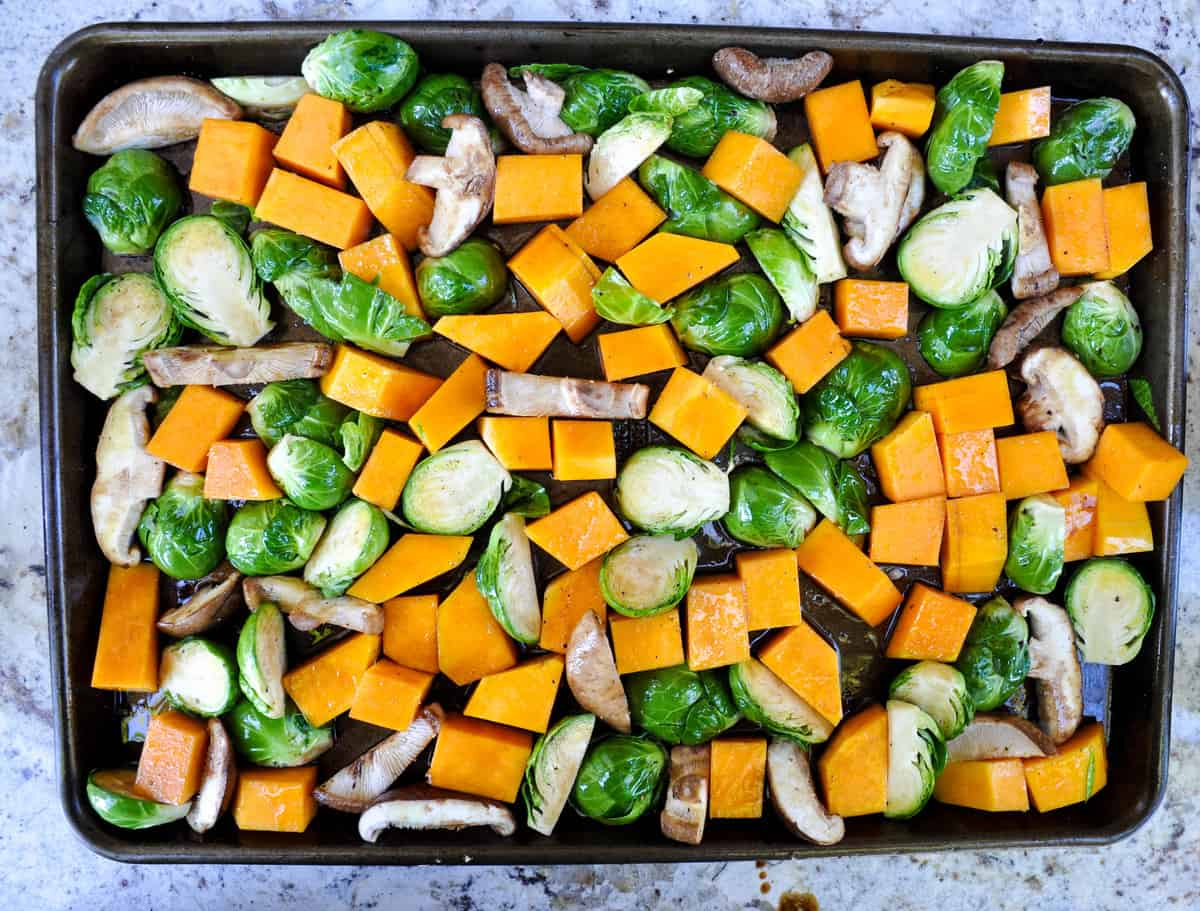roasted winter vegetable medley over creamy polenta california grown