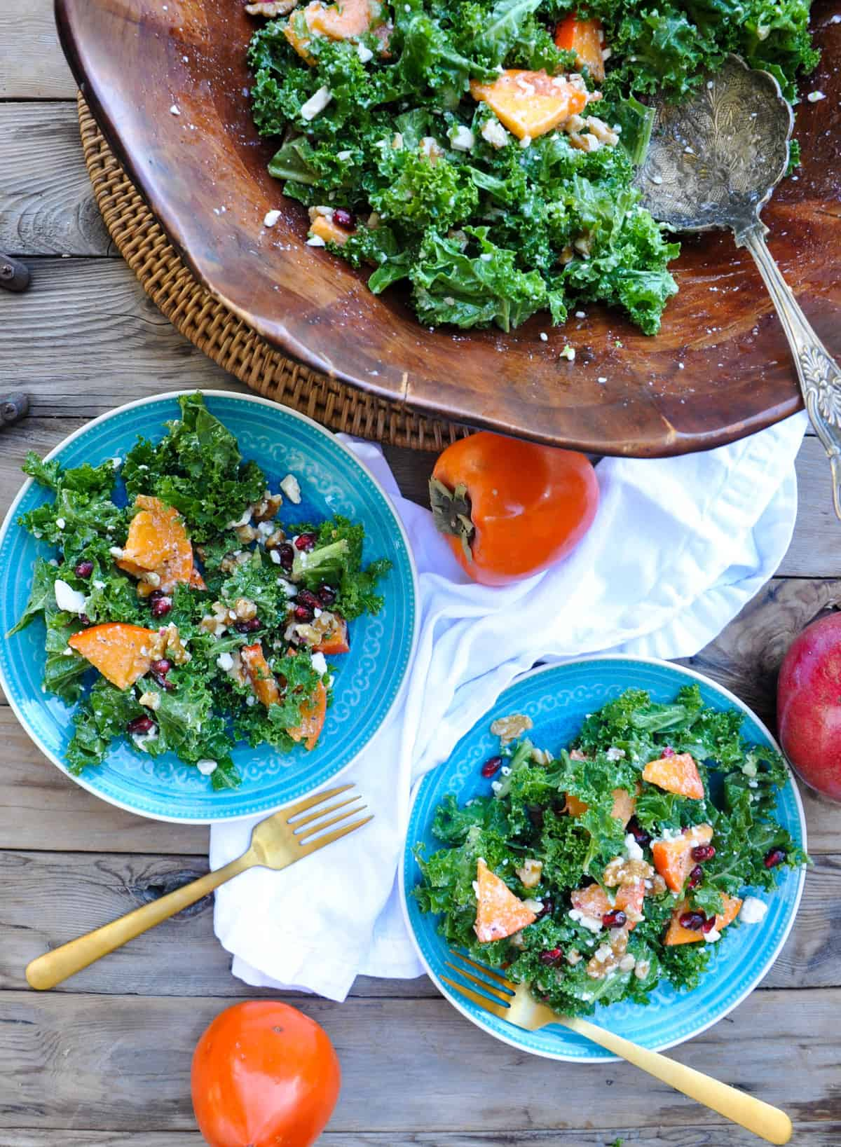 Persimmon Kale Salad with Walnuts and Pomegranate