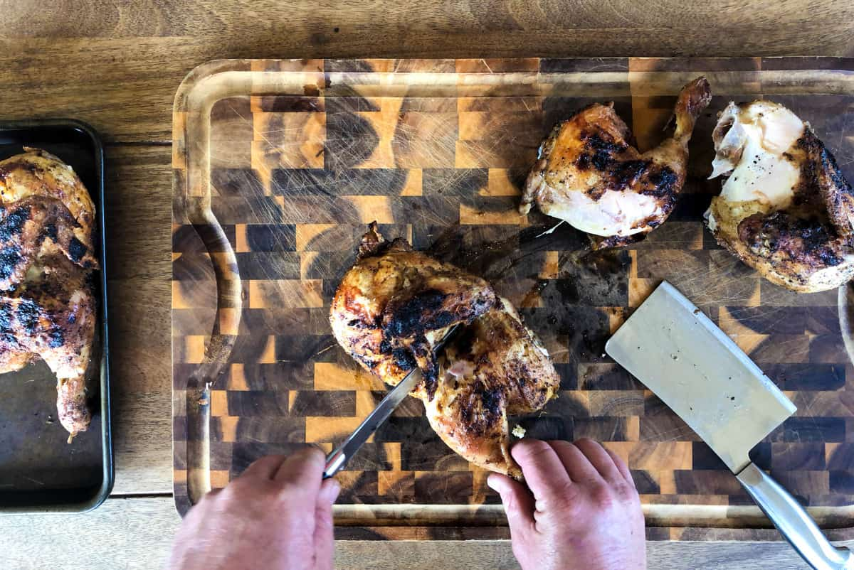 Cut the chicken in smaller pieces after grilling