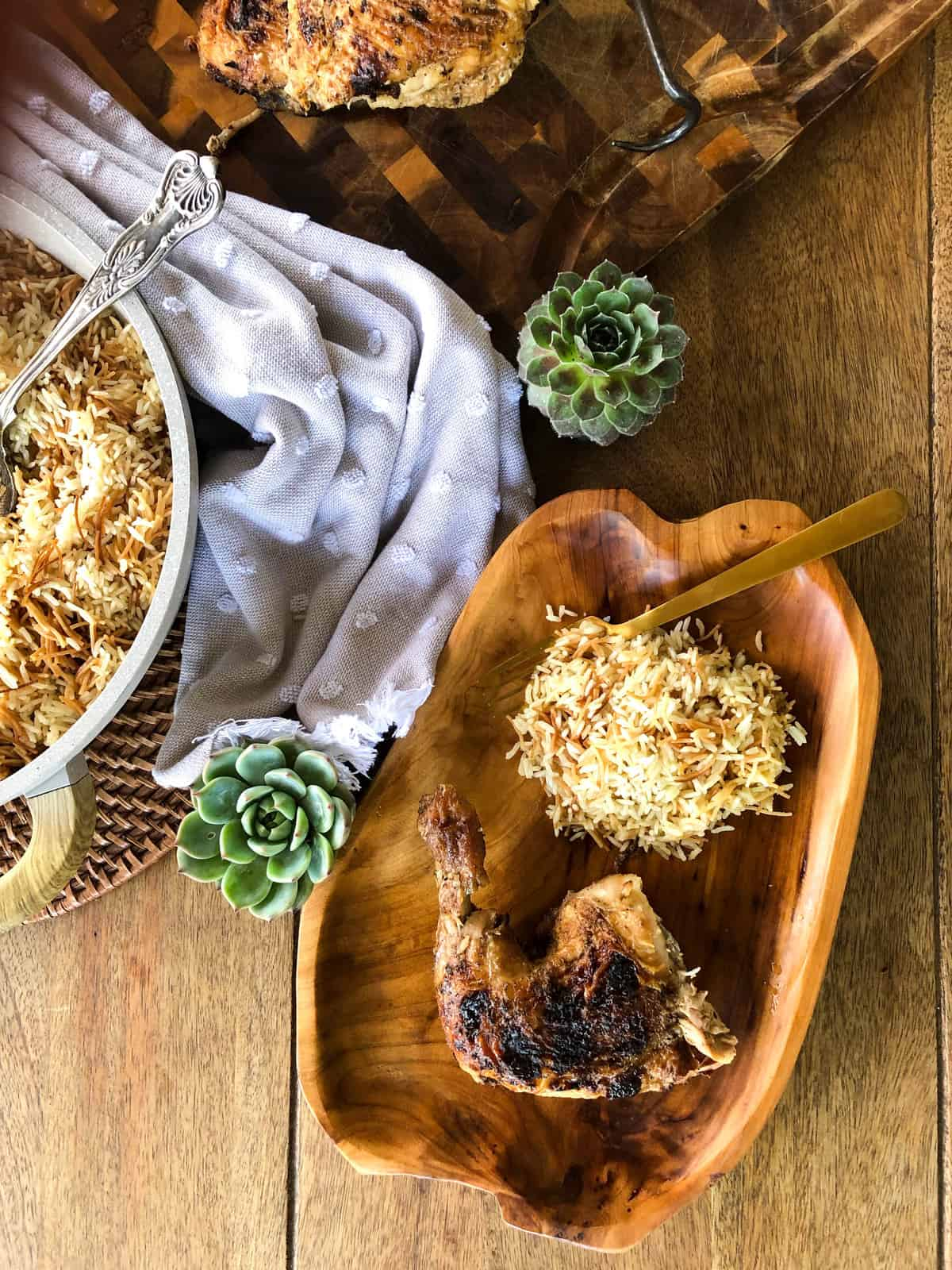 Tailgate chicken with rice pilaf side