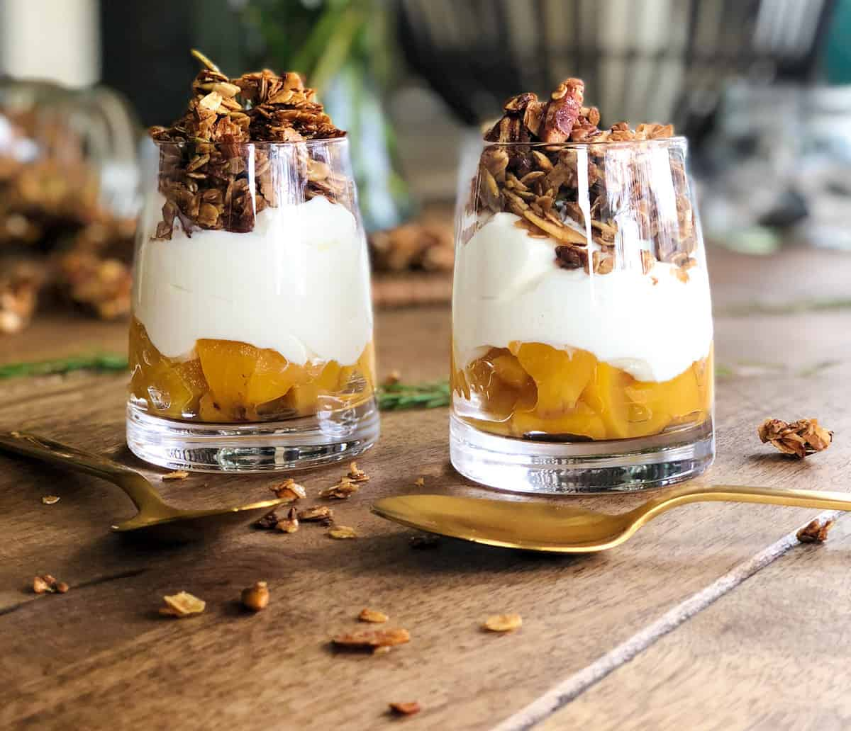 Peach Parfait using canned peaches! So yummy!