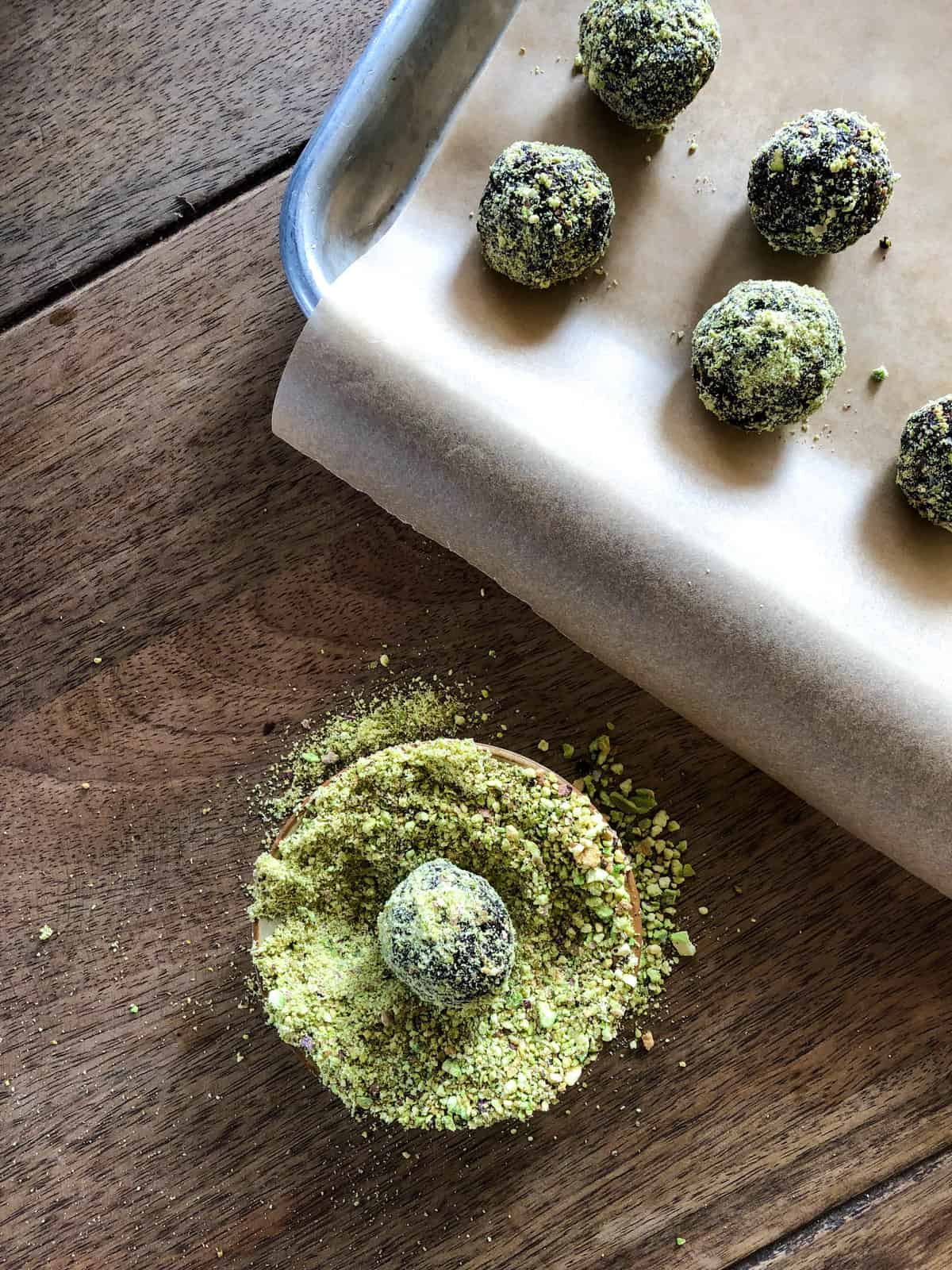 Pistachio Prune Truffles. A delicious, heart healthy alternative to an otherwise high fat treat.