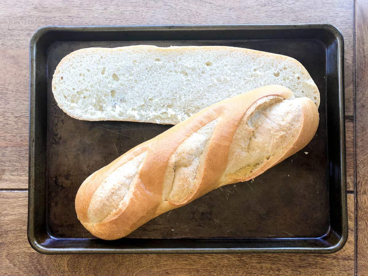 Slice bread lengthwise