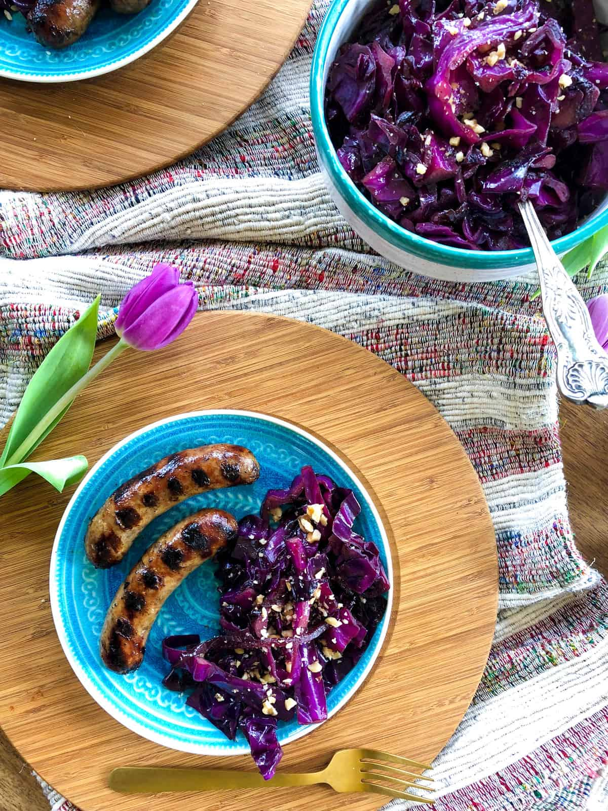 Braised Red Cabbage topped with Crushed Walnuts